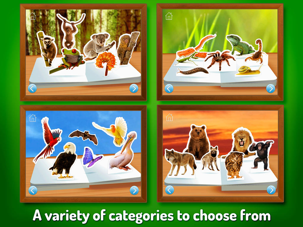 Zoo Animals - Touch, Look, Listen, an early learning kids' app by StoryToys. A variety of categories to choose from.