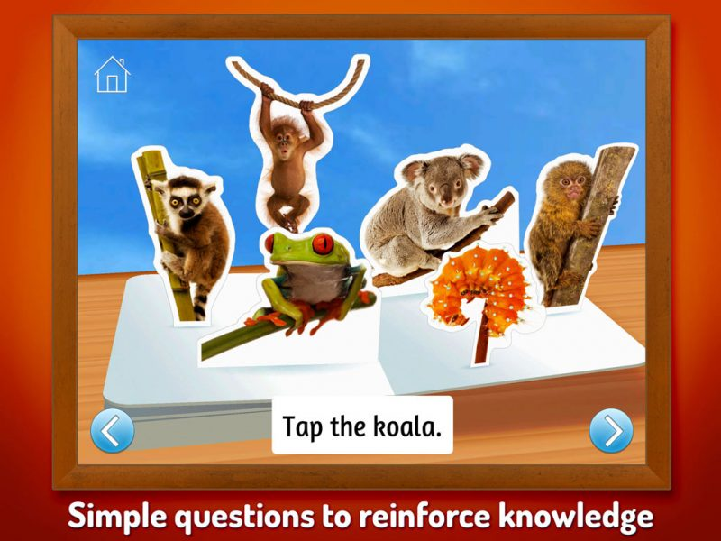Zoo Animals - Touch, Look, Listen, an early learning kids' app by StoryToys. Simple questions to reinforce knowledge.