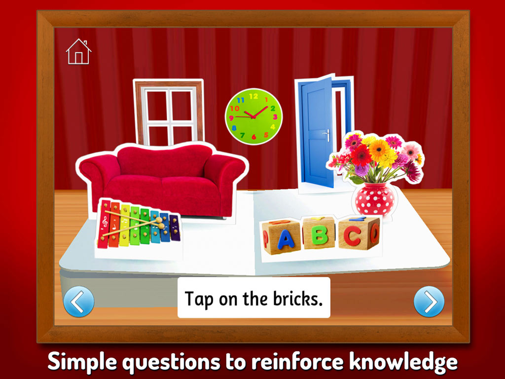 Touch, Look, Listen - My First Words. An early learning app by StoryToys to help teach young children new words. Simple quiz questions to reinforce knowledge.