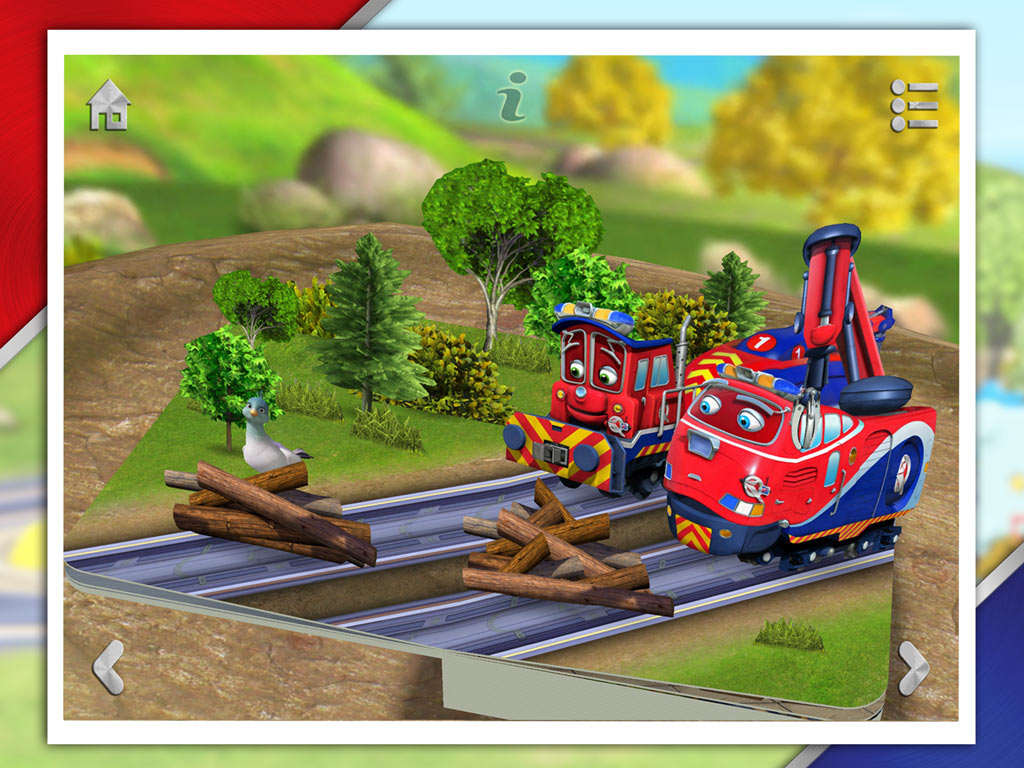 Chug Patrol - Ready to Rescue, an interactive 3D pop-up storybook app for kids by StoryToys based on the popular TV series. Keep the track safe by clearing logs with Wilson.