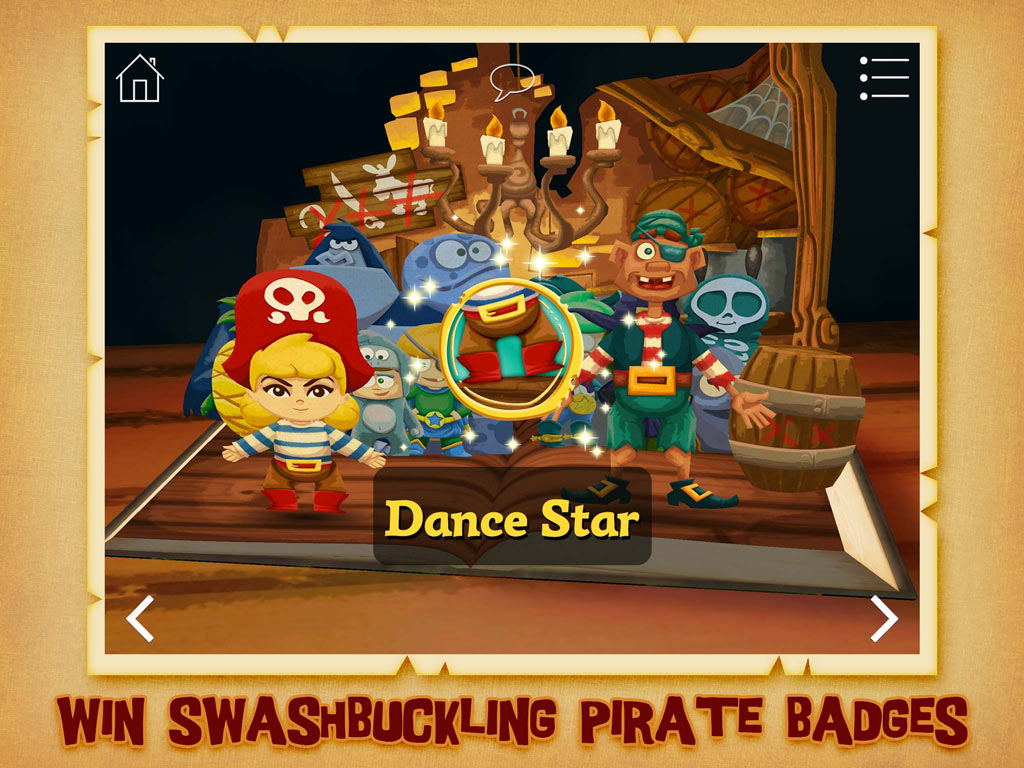 The Pirate Princess - kids' app and action-packed pirate adventure by StoryToys. Win swashbuckling pirate badges.
