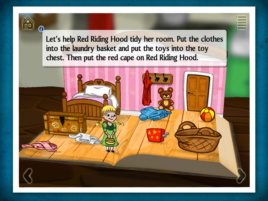 Grimm's red Riding Hood, a 3D pop-up kids' app by StoryToys. A magical 3D pop-up book.