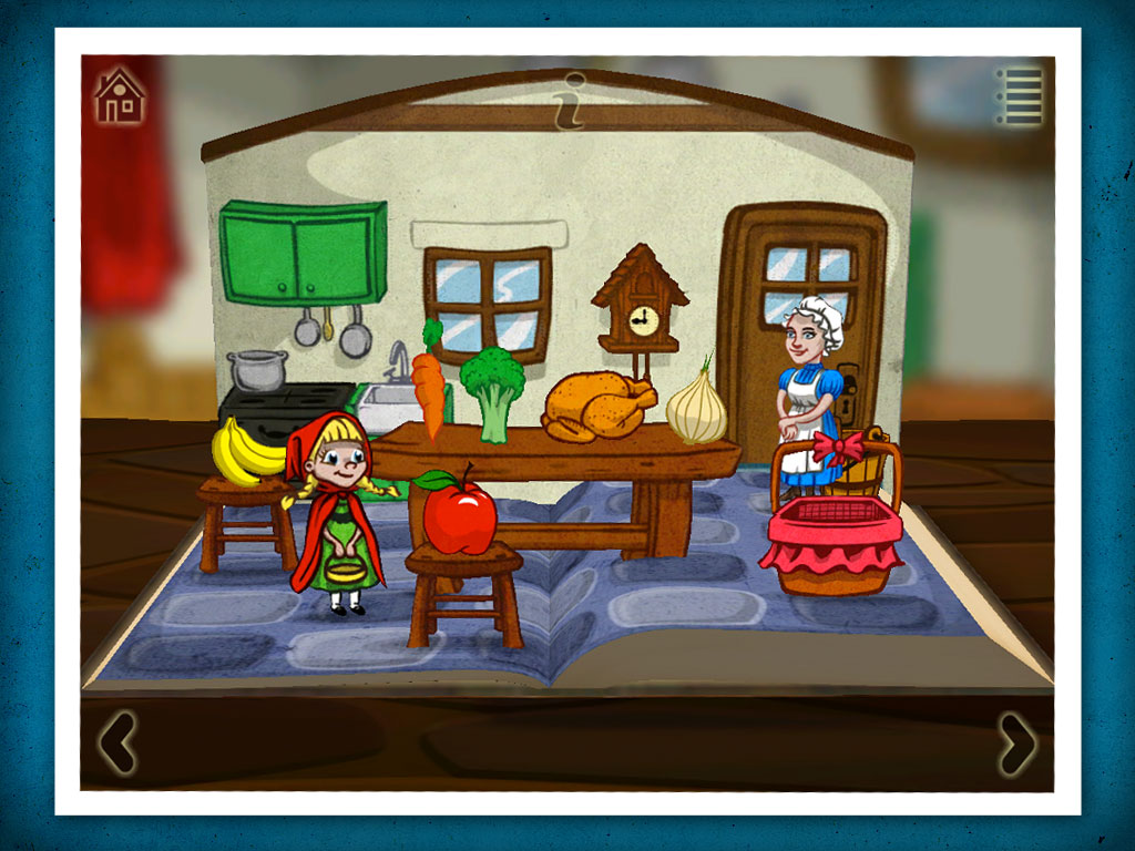 Grimm's red Riding Hood, a 3D pop-up kids' app by StoryToys. Beautiful and enchanting activities.
