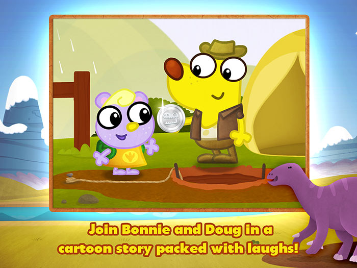 Dino Dog - a fun dinosaur app for kids with story and game by StoryToys. Join Bonnie and Doug in a cartoon story packed with laughs!