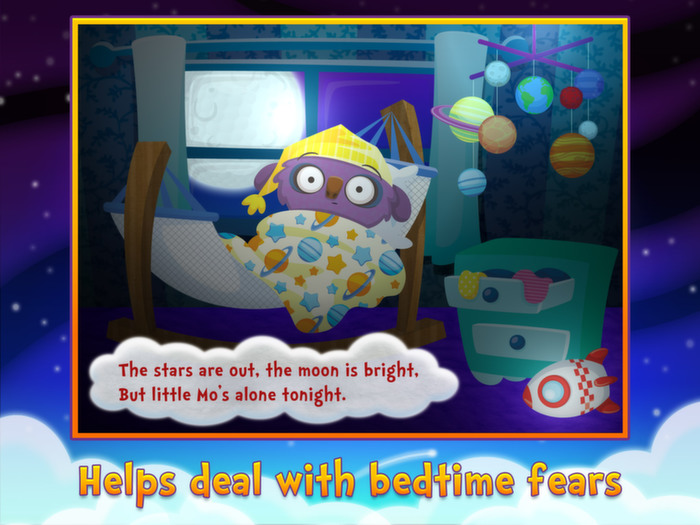 Sweet Dreams Mo, a bedtime app by StoryToys. Helps deal with bedtime fears.