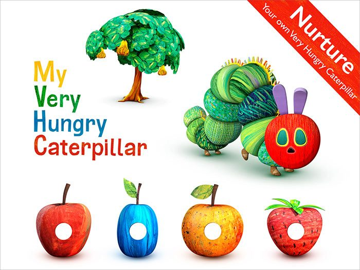 My Very Hungry Caterpillar an app for children by StoryToys. NUrture your very own Hungry Caterpillar. Day by day, My Very Hungry Caterpillar grows bigger and bigger, until he changes into a beautiful butterfly. Then a new egg is laid and the adventure begins again.
