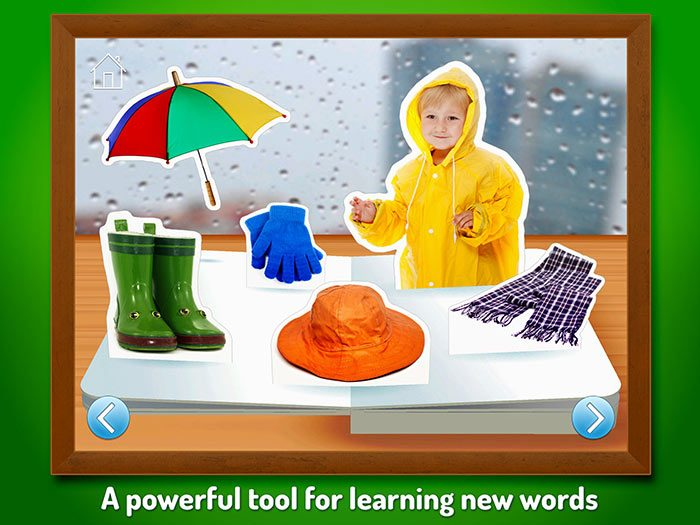 What Do I Wear - Touch, Look, Listen, an early learning app for kids. A powerful tool for learning new words.