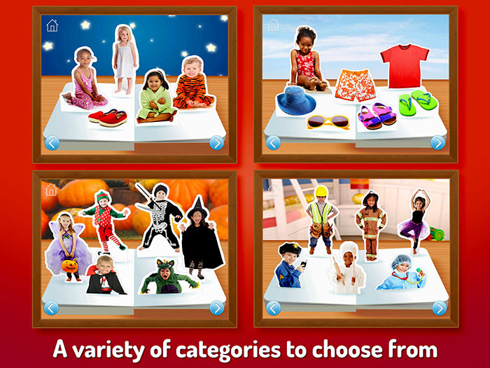 What Do I Wear - Touch, Look, Listen, an early learning app for kids. Choose from a variety of categories.