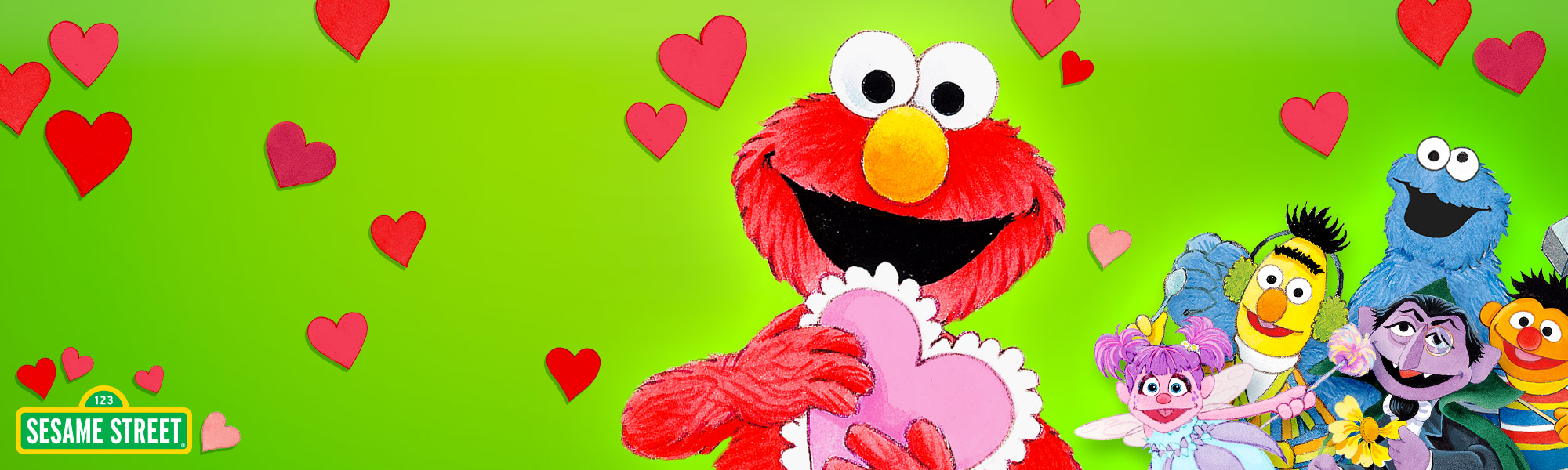 Elmo Loves You! title image starring Elmo, Cookie Monster, Abby, The Count, Bert and Ernie.