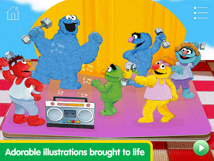 Elmo Loves You! screenshot of Cookie Monster dancing with other monsters - adorable illustrations brought to life.