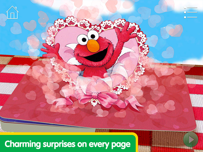 Elmo Loves You! screenshot of Elmo bursting out of a paper heart - charming surprises on every page.