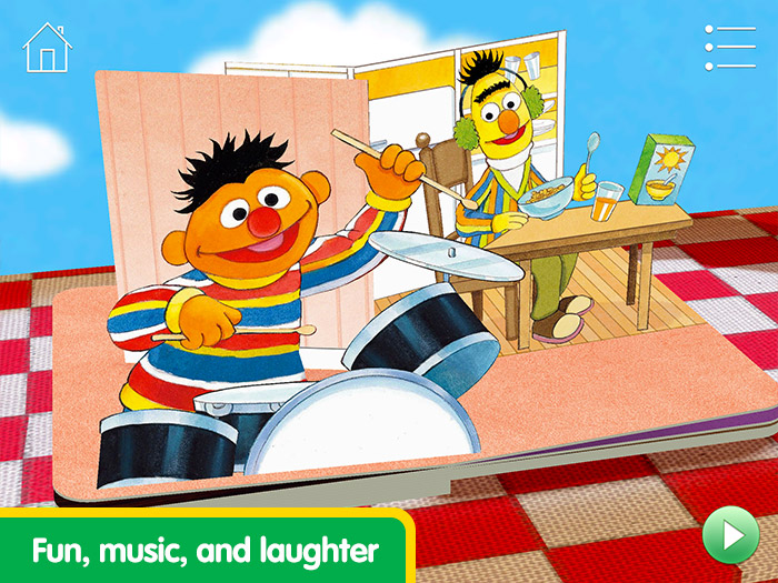 Elmo Loves You! screenshot of Bert and Ernie playing music.