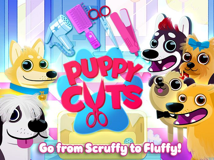 Puppy Cuts – My Dog Grooming Pet Salon screenshot of the title page - Go from Scruffy to Fluffy.