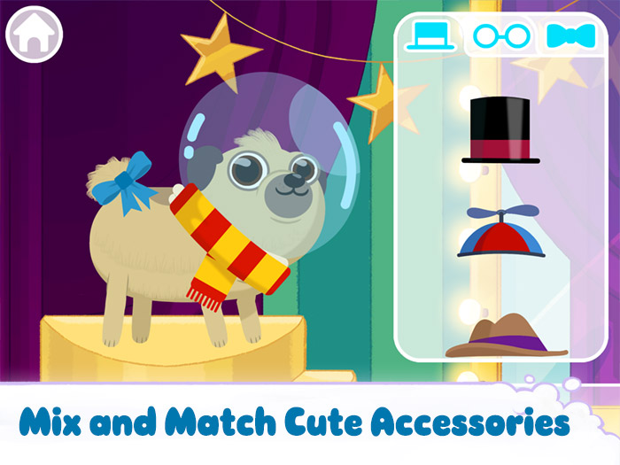 Puppy Cuts – My Dog Grooming Pet Salon screenshot showing some of the costumes available to dress up your puppy - mix and match cute accessories.