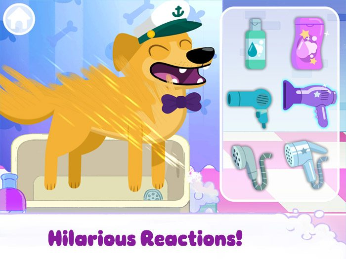 Puppy Cuts – My Dog Grooming Pet Salon screenshot showing a very happy puppy being styled with a hair dryer