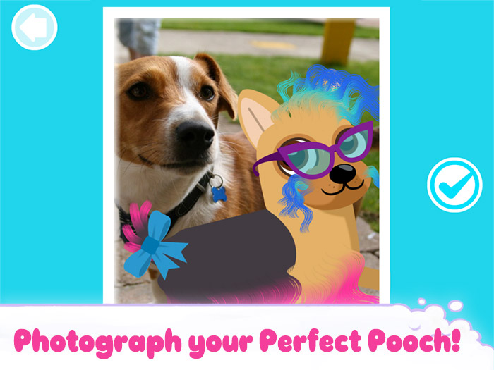 Puppy Cuts – My Dog Grooming Pet Salon screenshot showing the photo feature - take a photograph of your creation and your puppy's makeover.