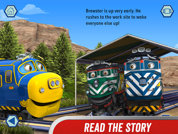 Chuggington – We are the Chuggineers screenshot showing a page from the storybook. A traintastic action-packed storybook with games, rewards and video clips from the show.