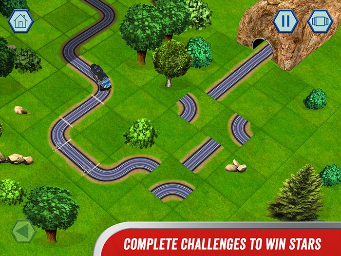 Chuggington - We are the Chuggineers screenshot showing a rail track puzzle game. Complete the challenges to win stars