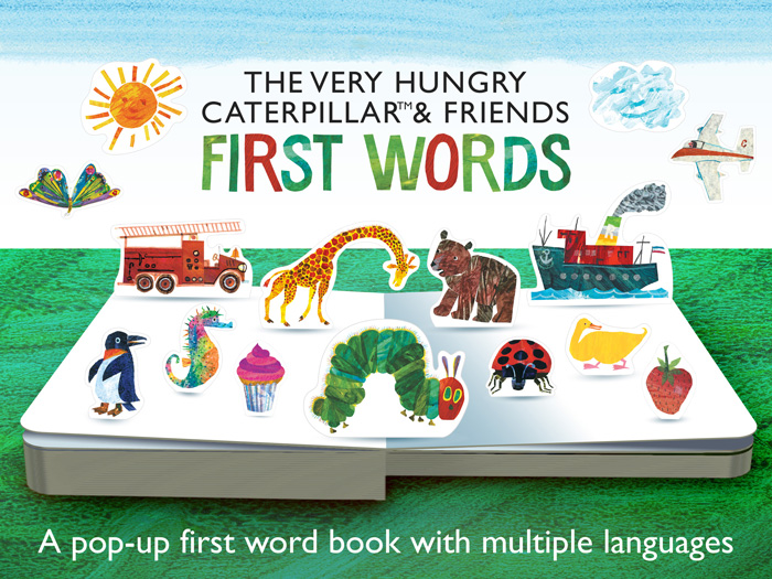 The Very Hungry Caterpillar & Friends First Words screenshot showing the title screen describing it as a pop-up first word book with multiple languages