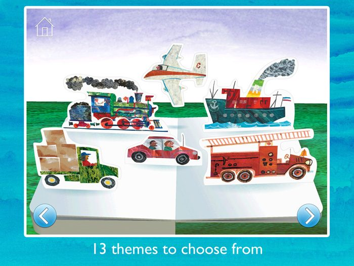 The Very Hungry Caterpillar™ and Friends First Words screenshot showing an example of the 13 different themes to chose from such as vehicles, animals, food and many more.