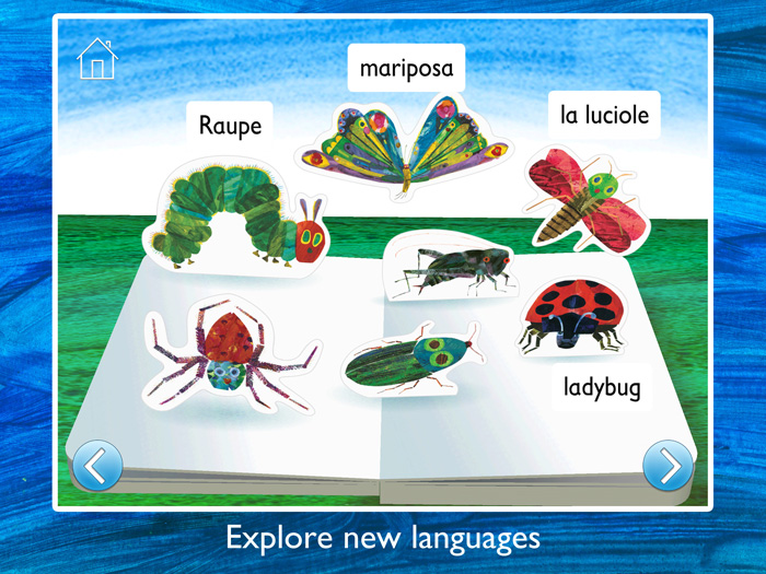 The Very Hungry Caterpillar & Friends First Words screenshot showing the alternative language options to turn the app into a language-learning tool.