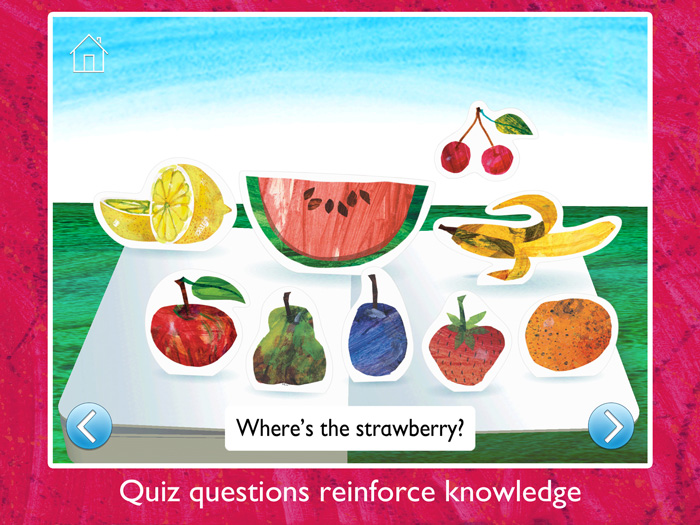 The Very Hungry Caterpillar & Friends First Words screenshot showing quiz questions to reinforce knowledge