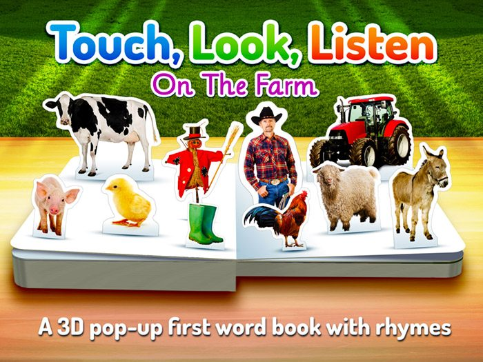 On The Farm ~ Touch Look Listen screenshot of the title page - A 3D pop-up first word book with rhymes.