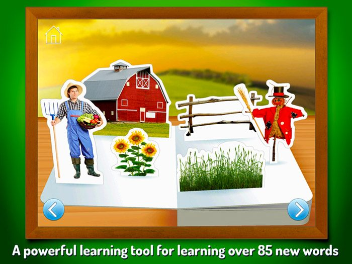 On The Farm ~ Touch Look Listen screenshot - a powerful learning tool for learning over 85 new words.