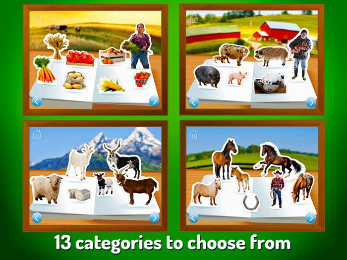 On The Farm ~ Touch Look Listen screenshot showing a selection of the 13 categories included in the app such as horses, goats, pigs and tractors.