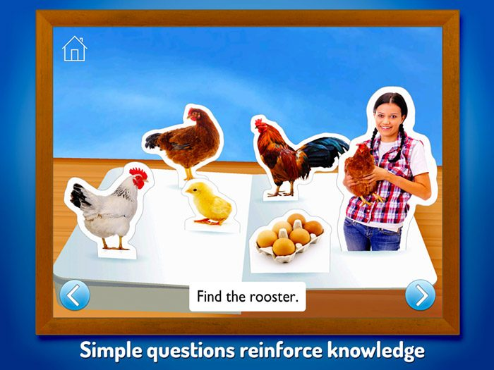 On The Farm ~ Touch Look Listen screenshot showing simple questions designed to reinforce knowledge