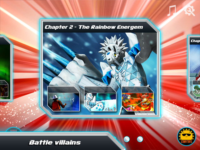 Power Rangers Dino Charge Rumble screenshot showing a selection of villains to be battled. Battle against Vivix, Sledge, Fury, Ice Age, Scrapper, Sting Rage and other villains from Power Rangers Dino Charge.