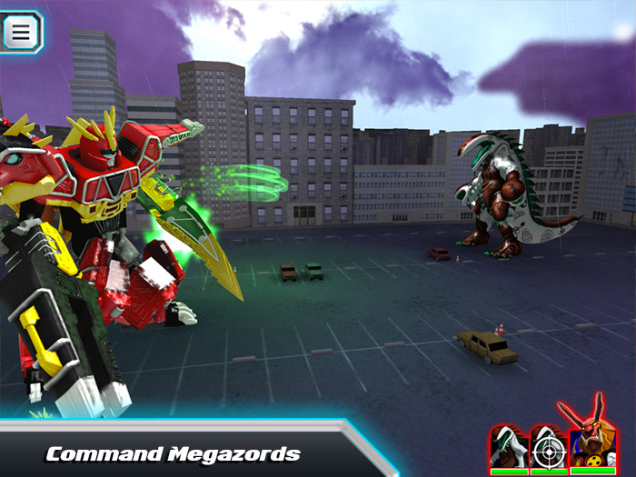 Power Rangers Dino Charge Rumble screenshot showing Megazords in a battle scene. Fight super-sized monsters with mighty Megazords.