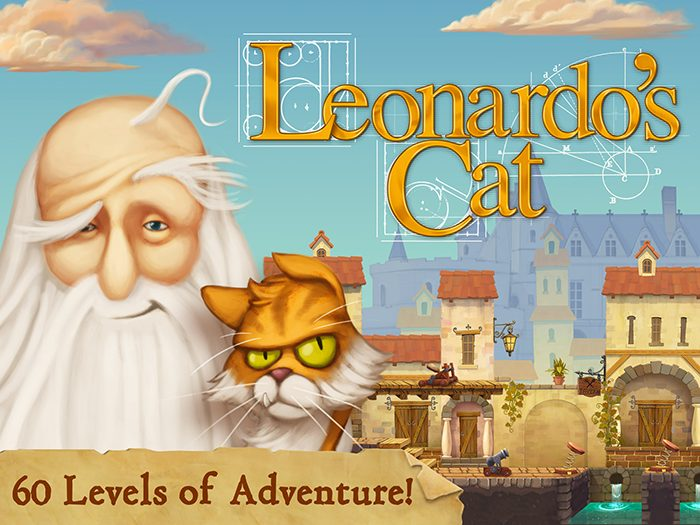 Leonardo's Cat title screen mentioning 60 levels of adventure and puzzles to solve.