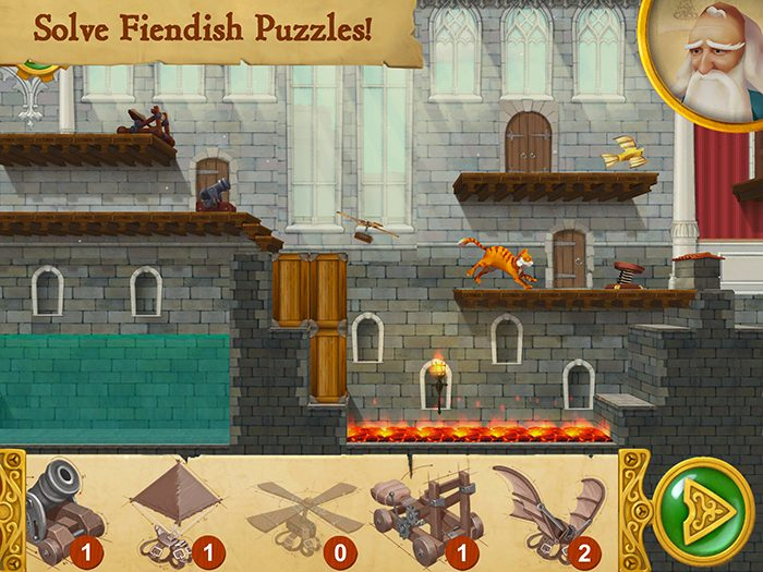 Leonardo's Cat screenshot showing a scene from the puzzle. Scungilli must cross pools of water and hot coals using Leonardo's inventions in order to retrieve a piece of the missing automaton.