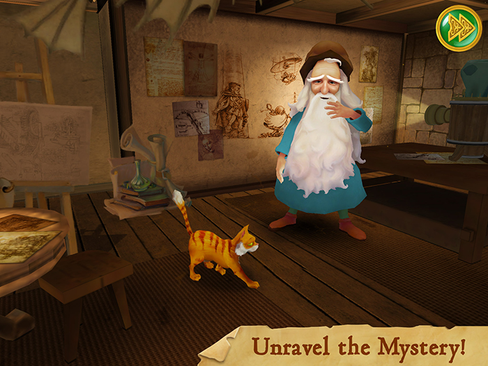 Leonardo's Cat screenshot showing a cut-scene from the introductory video. Leonardo introduces us to his cat and explains the background story of the missing automaton.