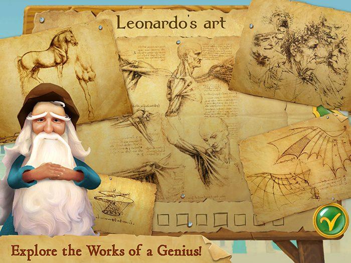 Leonardo's Cat screenshot showing Leonardo's art. Explore the artwork and inventions of Leonardo da Vinci.