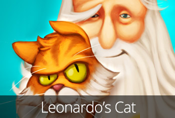 Leonardo's Cat image of Leonardo with his cat Scungilli.