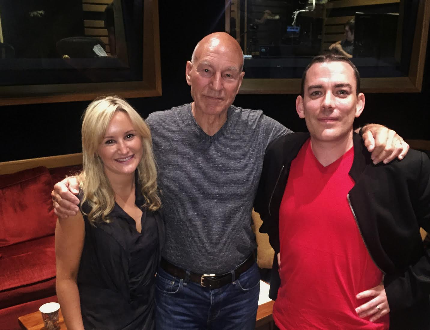 Sir Patrick Stewart with StoryToys' CPO Emmet O'Neill and producer Ciara Moore.